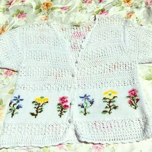 Spring/Summer Button Sweater Pretty Floral Accents